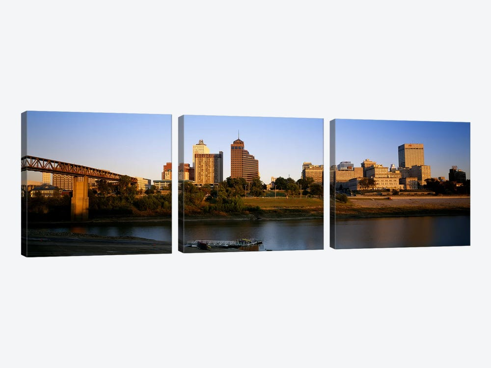 Buildings At The waterfront, Memphis, Tennessee, USA by Panoramic Images 3-piece Canvas Art