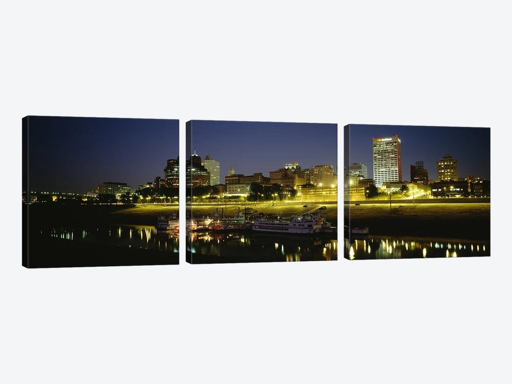 Buildings Lit Up At DuskMemphis, Tennessee, USA 3-piece Canvas Print