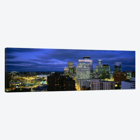 Buildings Lit Up At DuskMinneapolis, Minnesota, USA Canvas Print #PIM5091} by Panoramic Images Canvas Print