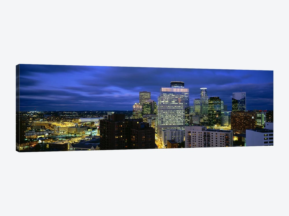 Buildings Lit Up At DuskMinneapolis, Minnesota, USA by Panoramic Images 1-piece Canvas Wall Art