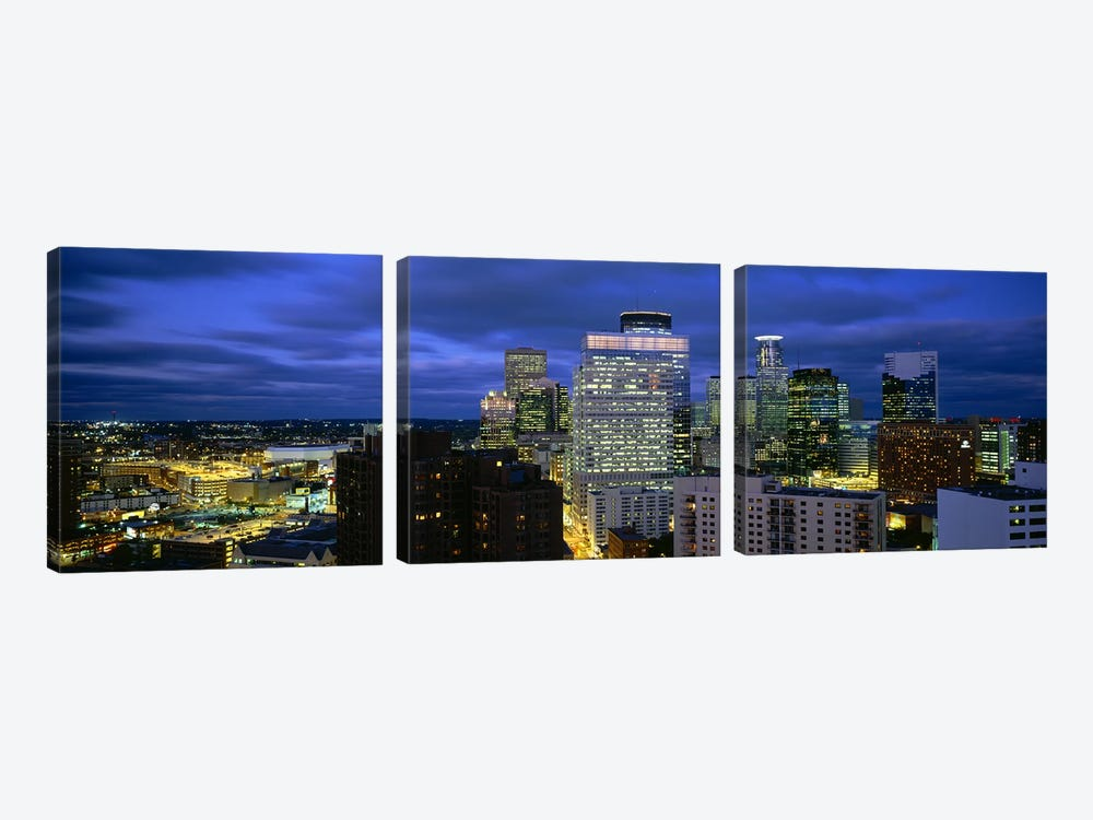 Buildings Lit Up At DuskMinneapolis, Minnesota, USA by Panoramic Images 3-piece Canvas Wall Art