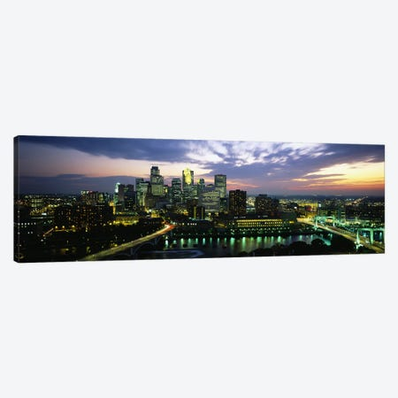 Buildings Lit Up At DuskMinneapolis, Minnesota, USA Canvas Print #PIM5092} by Panoramic Images Canvas Print
