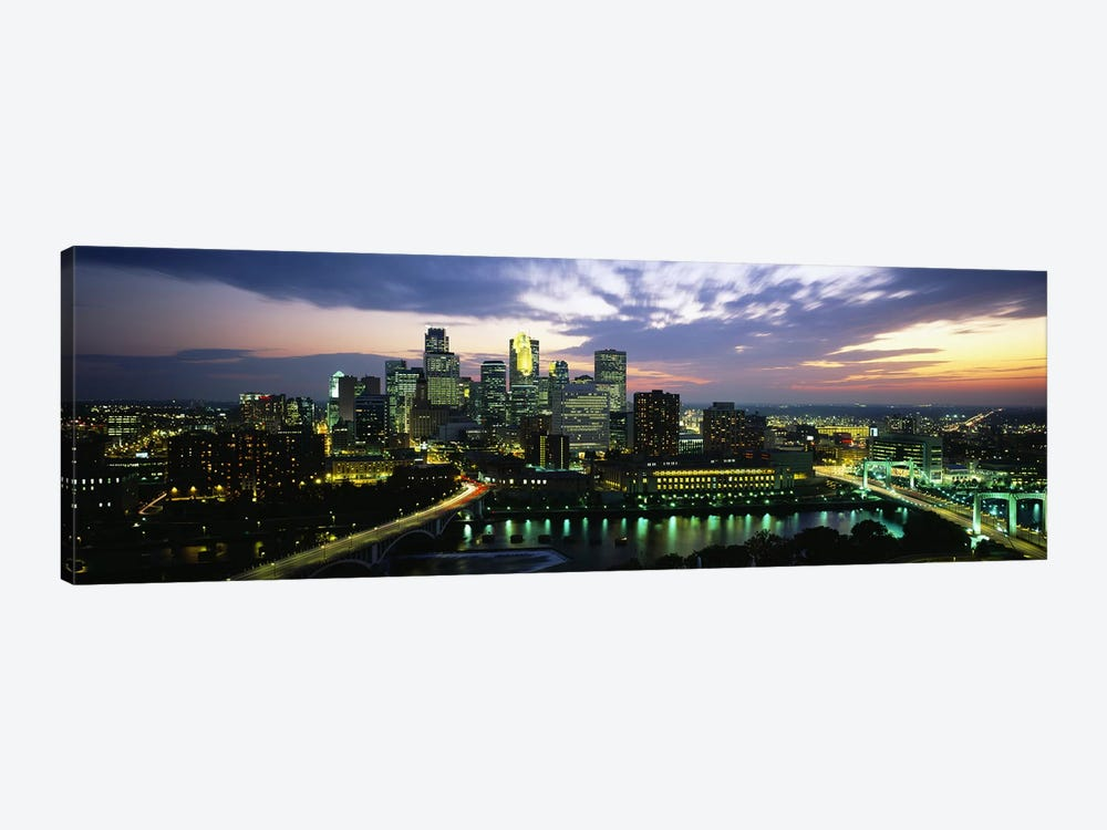 Buildings Lit Up At DuskMinneapolis, Minnesota, USA by Panoramic Images 1-piece Art Print