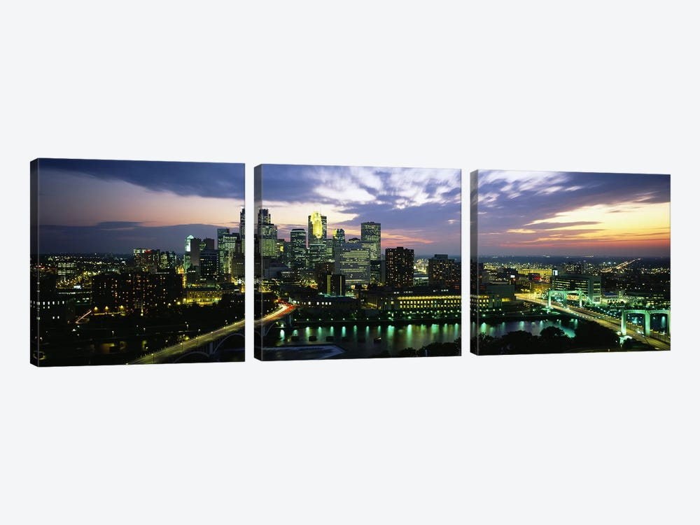 Buildings Lit Up At DuskMinneapolis, Minnesota, USA by Panoramic Images 3-piece Canvas Art Print