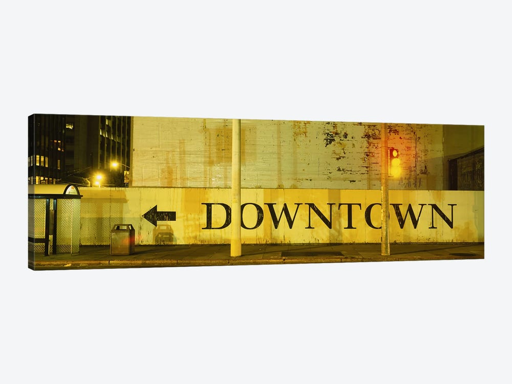 Downtown Sign Printed On A Wall, San Francisco, California, USA by Panoramic Images 1-piece Canvas Artwork