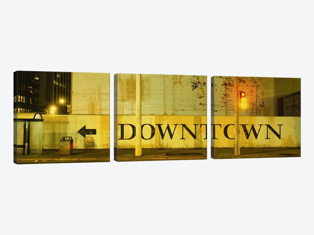 Downtown Sign Printed On A Wall, San Francisco, California, USA by Panoramic Images 3-piece Canvas Artwork