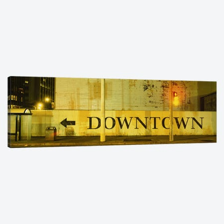 Downtown Sign Printed On A Wall, San Francisco, California, USA Canvas Print #PIM5103} by Panoramic Images Art Print