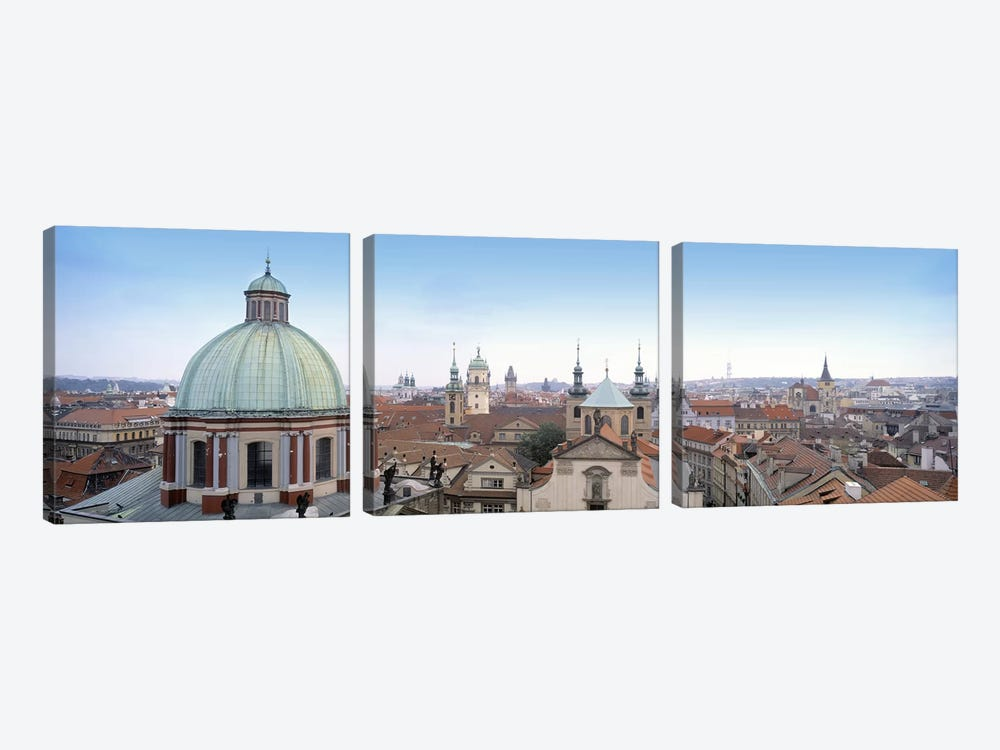Church in a city, Prague, Czech Republic by Panoramic Images 3-piece Canvas Print