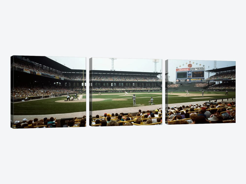 Spectators watching a baseball match in a stadium, U.S. Cellular Field, Chicago, Cook County, Illinois, USA by Panoramic Images 3-piece Art Print