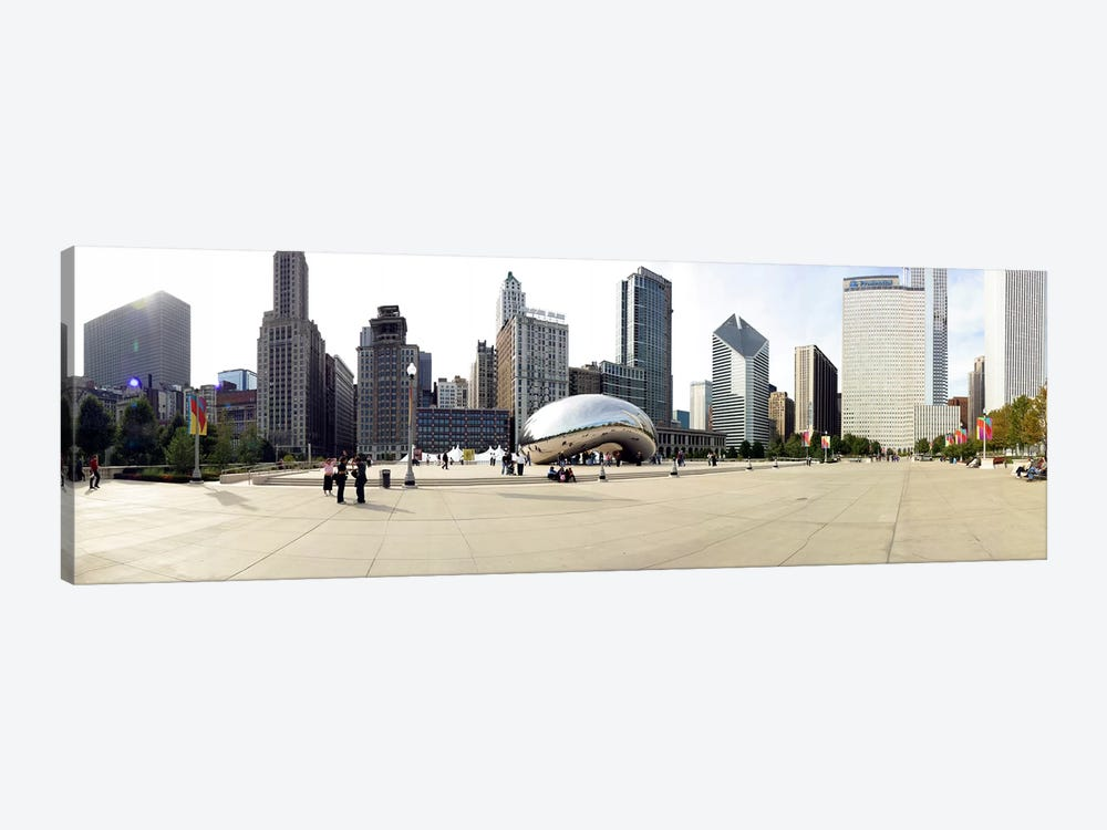 Buildings in a city, Millennium Park, Chicago, Illinois, USA by Panoramic Images 1-piece Canvas Print