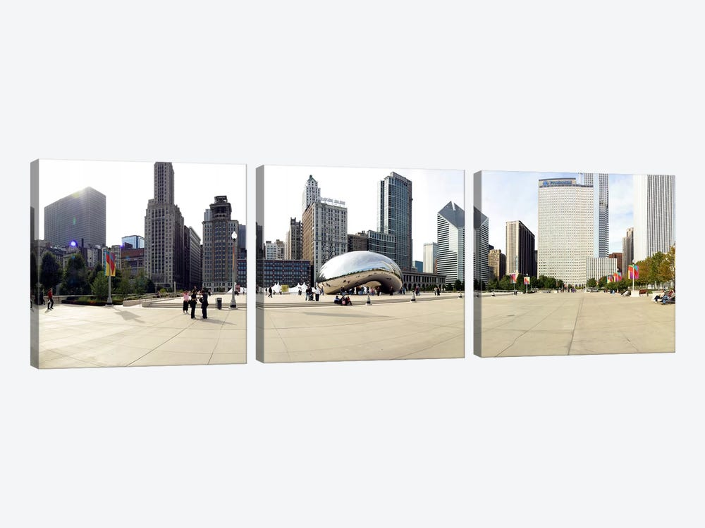 Buildings in a city, Millennium Park, Chicago, Illinois, USA by Panoramic Images 3-piece Canvas Art Print