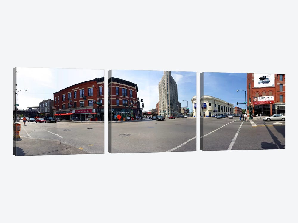 Buildings in a city, Wicker Park and Bucktown, Chicago, Illinois, USA by Panoramic Images 3-piece Canvas Wall Art