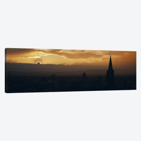 Majestic Sunset At Night, Altstadt, Freiburg, Germany Canvas Print #PIM5119} by Panoramic Images Canvas Artwork