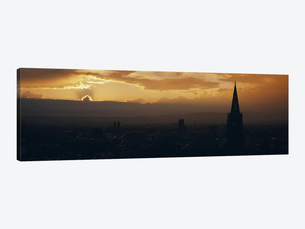 Majestic Sunset At Night, Altstadt, Freiburg, Germany by Panoramic Images 1-piece Canvas Art Print