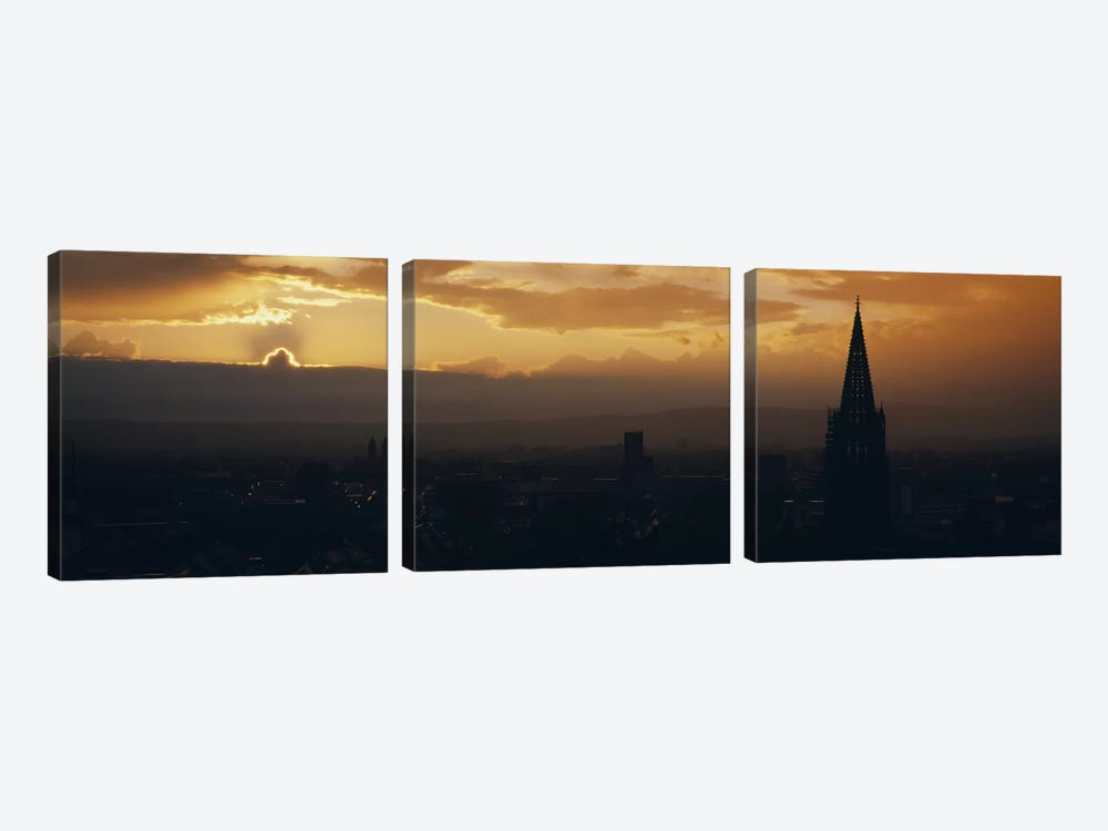Majestic Sunset At Night, Altstadt, Freiburg, Germany by Panoramic Images 3-piece Art Print