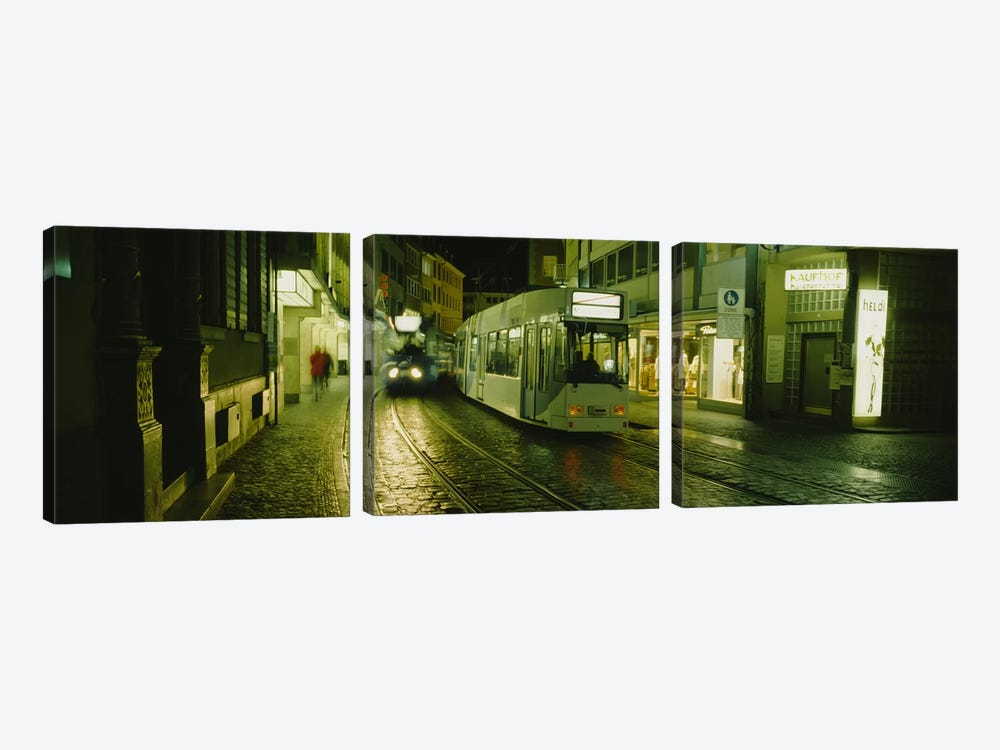 Cable Cars Moving On A Street, Freiburg, Germany by Panoramic Images 3-piece Canvas Art