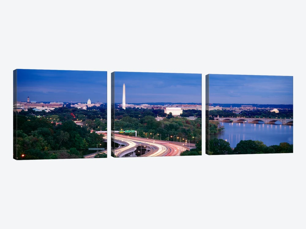 High angle view of a cityscape, Washington DC, USA 3-piece Canvas Art Print
