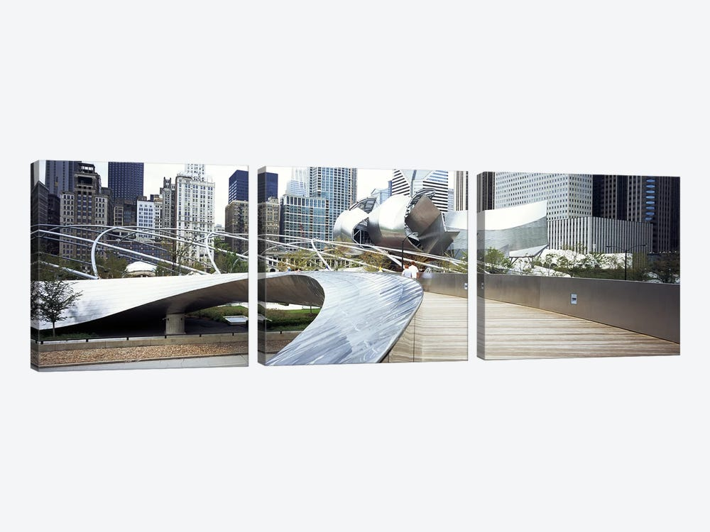 Footbridge in a park, Millennium Park, Chicago, Illinois, USA by Panoramic Images 3-piece Canvas Art Print