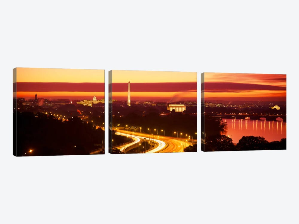 SunsetAerial, Washington DC, District of Columbia, USA by Panoramic Images 3-piece Canvas Artwork