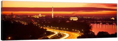 SunsetAerial, Washington DC, District of Columbia, USA Canvas Art Print
