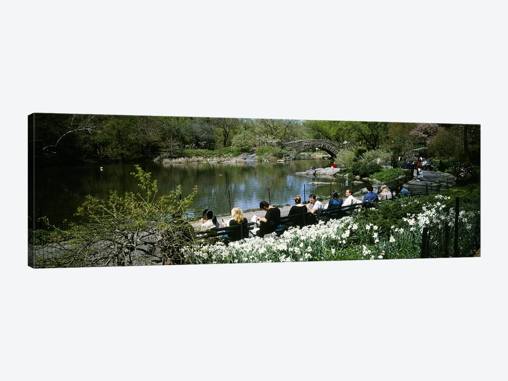 Group of people sitting on benches near a pond, Central Park, Manhattan, New York City, New York State, USA by Panoramic Images 1-piece Canvas Art Print