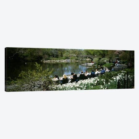 Group of people sitting on benches near a pond, Central Park, Manhattan, New York City, New York State, USA 3-Piece Canvas #PIM5142} by Panoramic Images Art Print