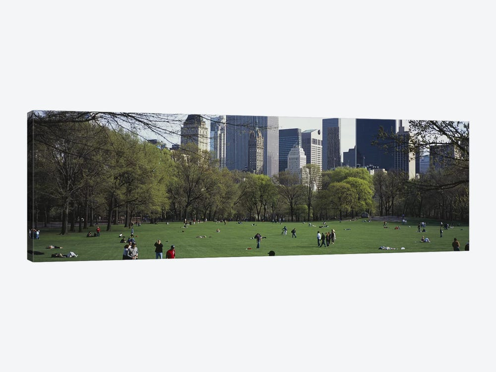 Group of people in a park, Central Park, Manhattan, New York City, New York State, USA by Panoramic Images 1-piece Canvas Artwork