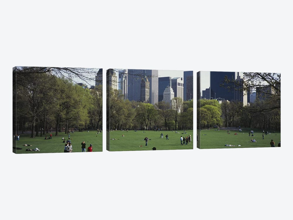 Group of people in a park, Central Park, Manhattan, New York City, New York State, USA by Panoramic Images 3-piece Canvas Art