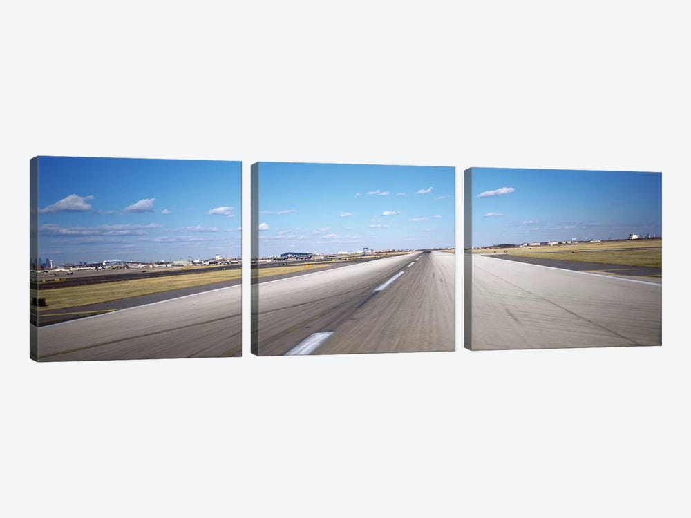 Runway at an airport, Philadelphia Airport, New York State, USA by Panoramic Images 3-piece Canvas Wall Art