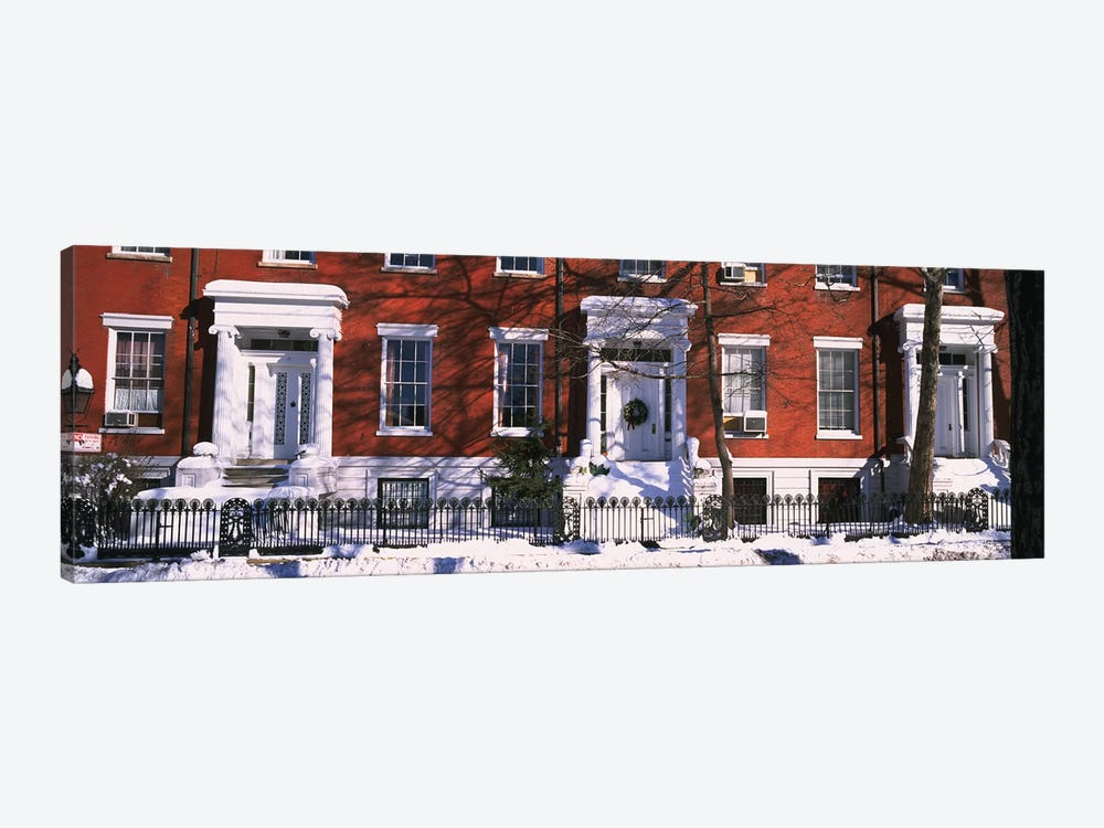 Facade of houses in the 1830Õs Federal style of architecture, Washington Square, New York City, New York State, USA by Panoramic Images 1-piece Art Print