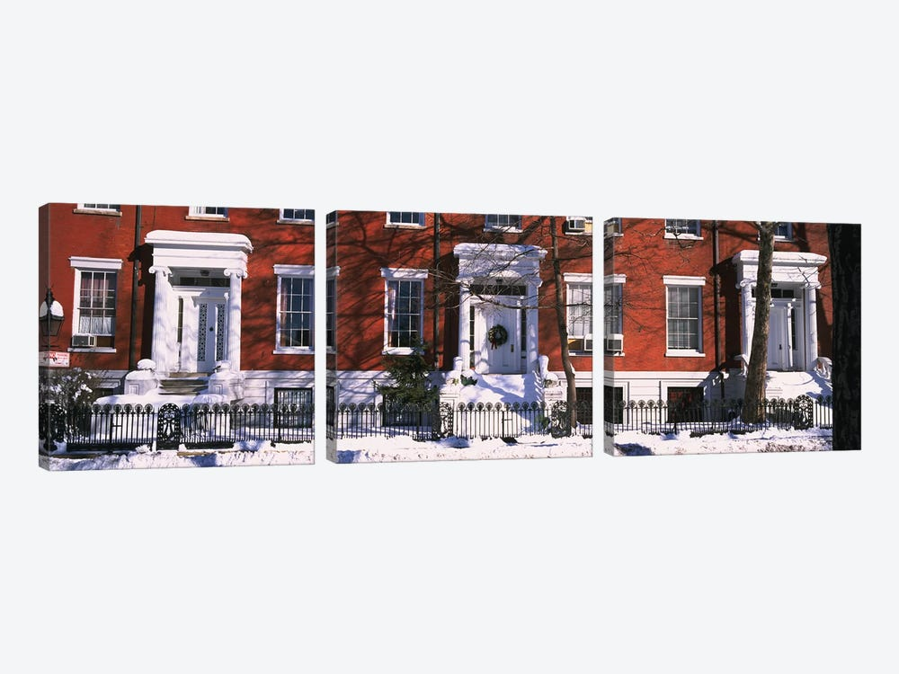 Facade of houses in the 1830Õs Federal style of architecture, Washington Square, New York City, New York State, USA by Panoramic Images 3-piece Art Print