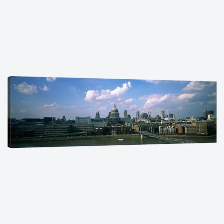 Buildings on the waterfront, St. Paul's Cathedral, London, England Canvas Print #PIM5149} by Panoramic Images Art Print