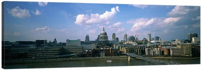 Buildings on the waterfront, St. Paul's Cathedral, London, England Canvas Art Print
