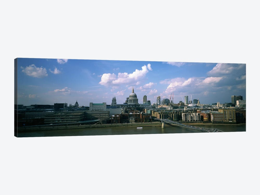Buildings on the waterfront, St. Paul's Cathedral, London, England by Panoramic Images 1-piece Canvas Art