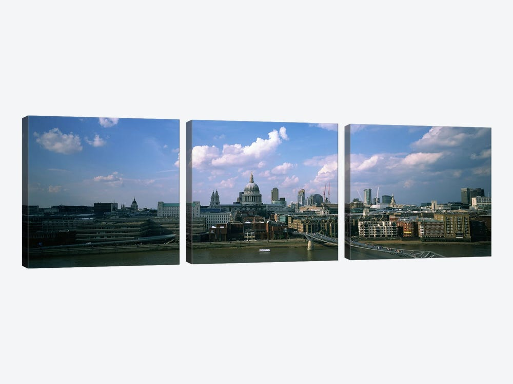 Buildings on the waterfront, St. Paul's Cathedral, London, England by Panoramic Images 3-piece Canvas Wall Art