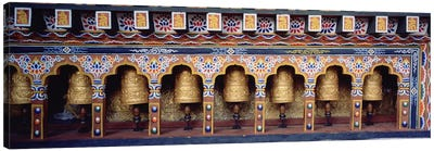 Prayer Wheels In A Temple, Chimi Lhakhang, Punakha, Bhutan Canvas Print #PIM5150