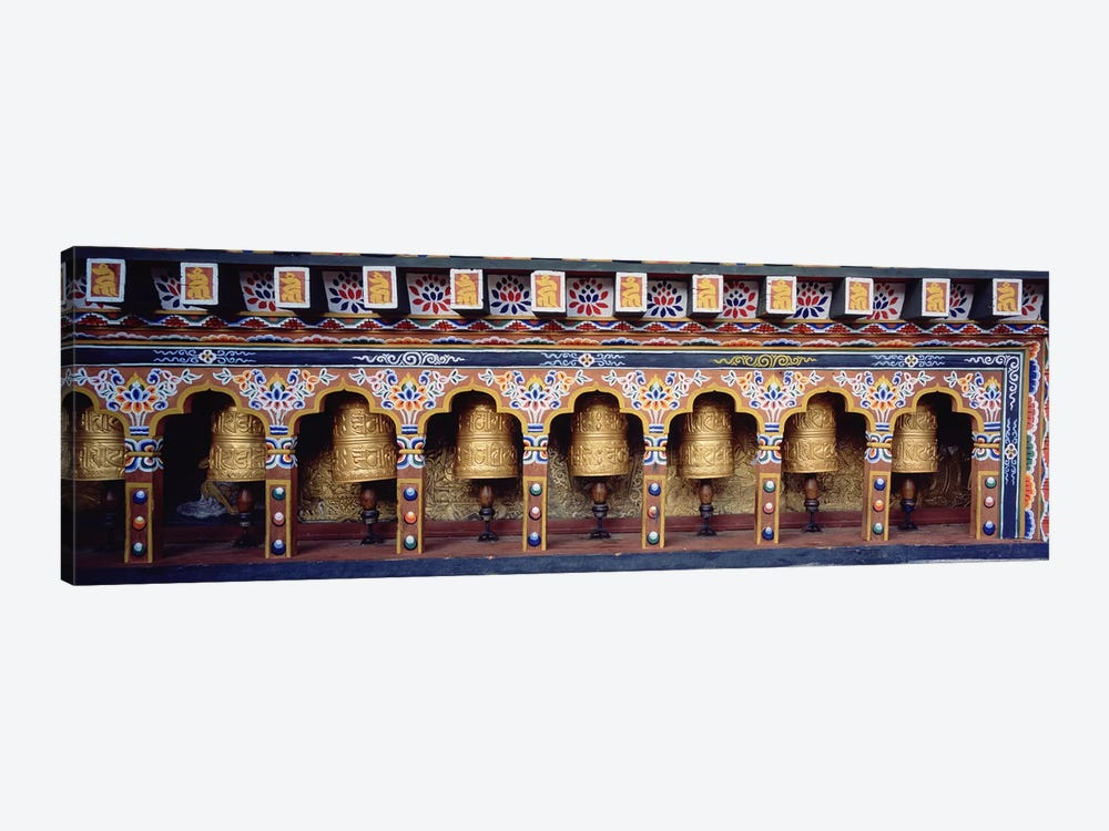 Prayer Wheels In A Temple, Chimi Lhakhang, Punakha, Bhutan by Panoramic Images 1-piece Canvas Artwork