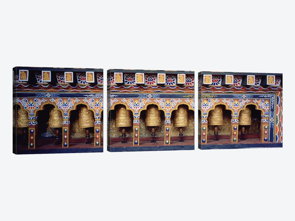 Prayer Wheels In A Temple, Chimi Lhakhang, Punakha, Bhutan by Panoramic Images 3-piece Canvas Artwork