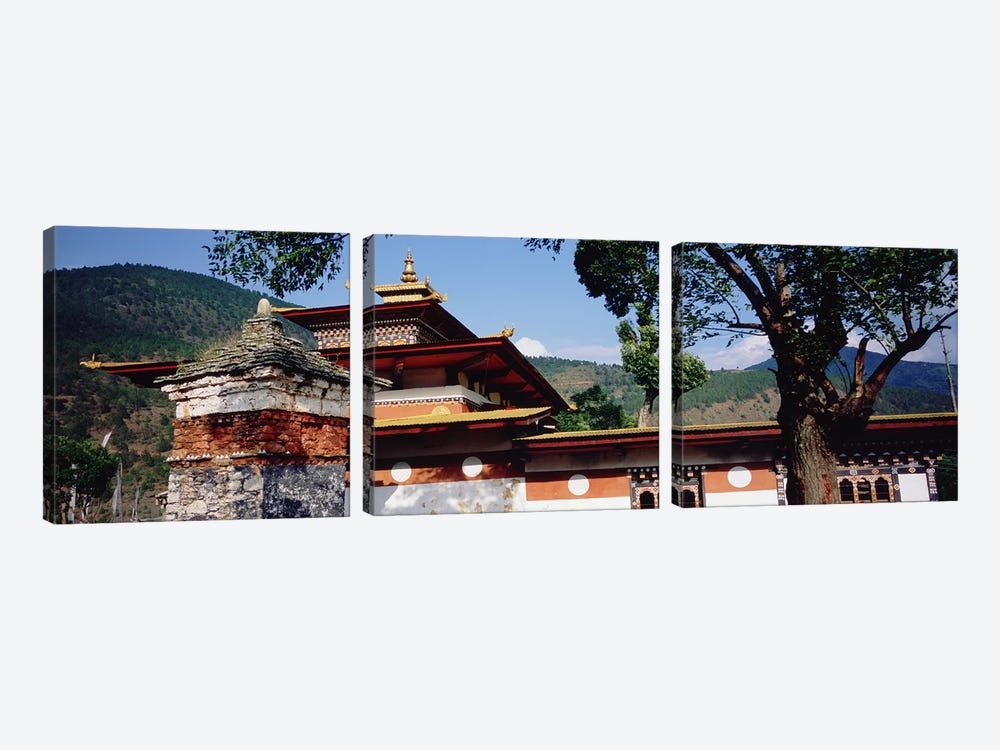 Temple In A City, Chimi Lhakhang, Punakha, Bhutan by Panoramic Images 3-piece Canvas Print