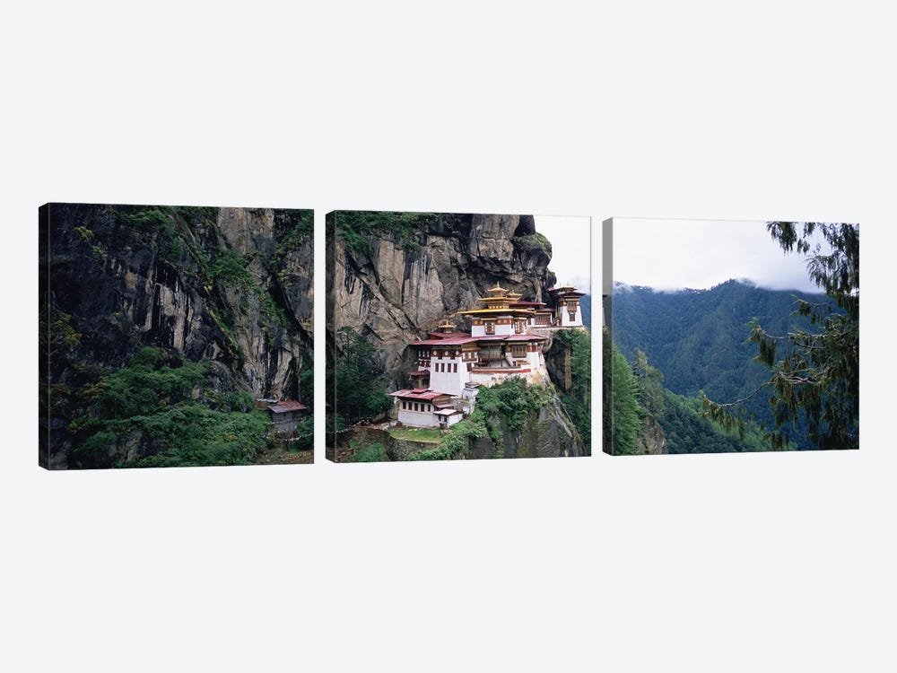 Taktsang Palphug Monastery (Tiger's Nest), Paro Valley, Kingdom Of Bhutan by Panoramic Images 3-piece Canvas Art Print
