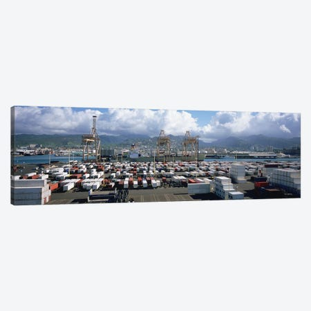 Containers And Cranes At A Harbor, Honolulu Harbor, Hawaii, USA Canvas Print #PIM5156} by Panoramic Images Canvas Print
