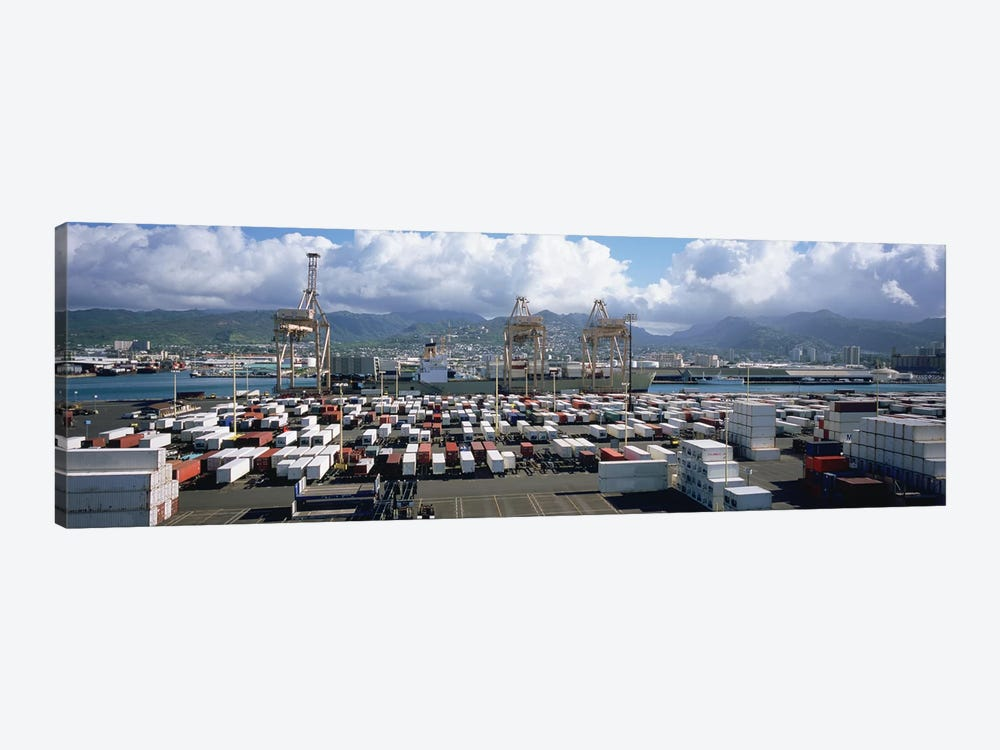 Containers And Cranes At A Harbor, Honolulu Harbor, Hawaii, USA by Panoramic Images 1-piece Canvas Artwork
