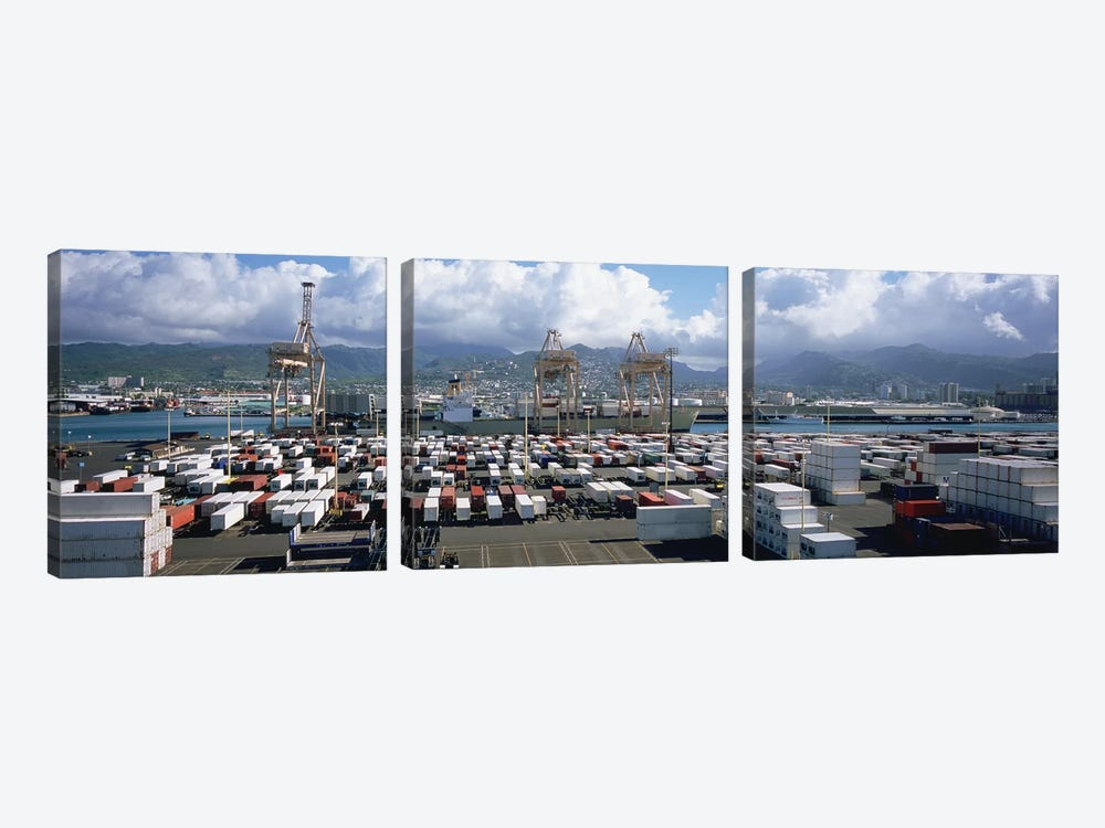 Containers And Cranes At A Harbor, Honolulu Harbor, Hawaii, USA by Panoramic Images 3-piece Canvas Wall Art