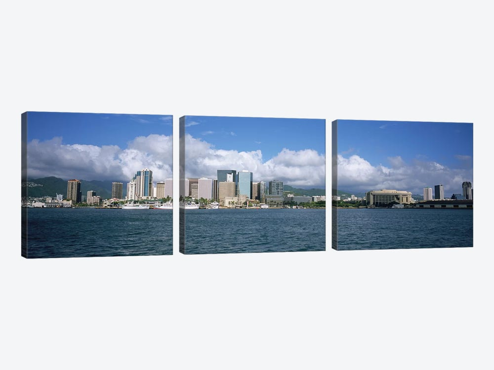 Buildings On The Waterfront, Downtown, Honolulu, Hawaii, USA by Panoramic Images 3-piece Canvas Art Print