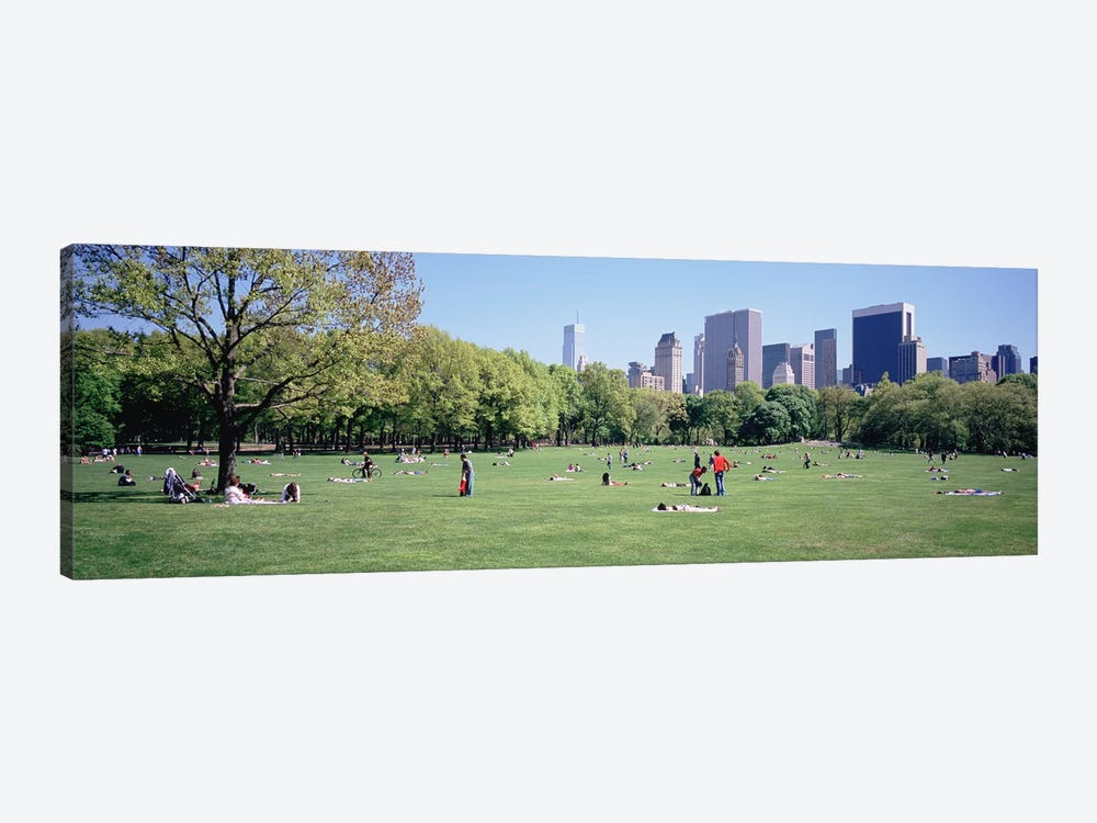 Group Of People In A Park, Sheep Meadow, Central Park, NYC, New York City, New York State, USA by Panoramic Images 1-piece Art Print