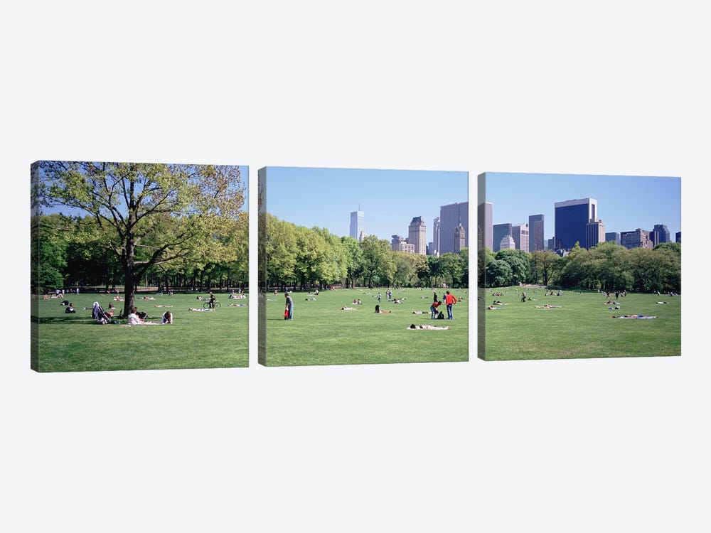 Group Of People In A Park, Sheep Meadow, Central Park, NYC, New York City, New York State, USA by Panoramic Images 3-piece Canvas Print