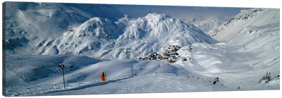 Rear view of a person skiing in snow, St. Christoph, Austria Canvas Art Print