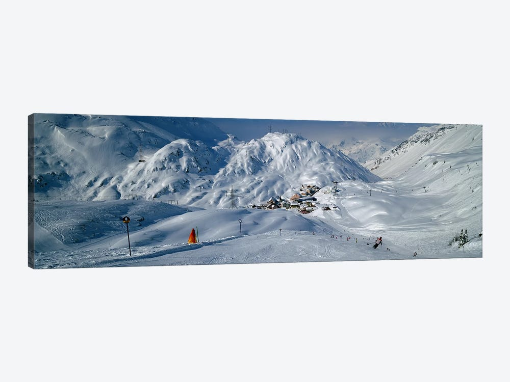 Rear view of a person skiing in snow, St. Christoph, Austria by Panoramic Images 1-piece Canvas Art Print