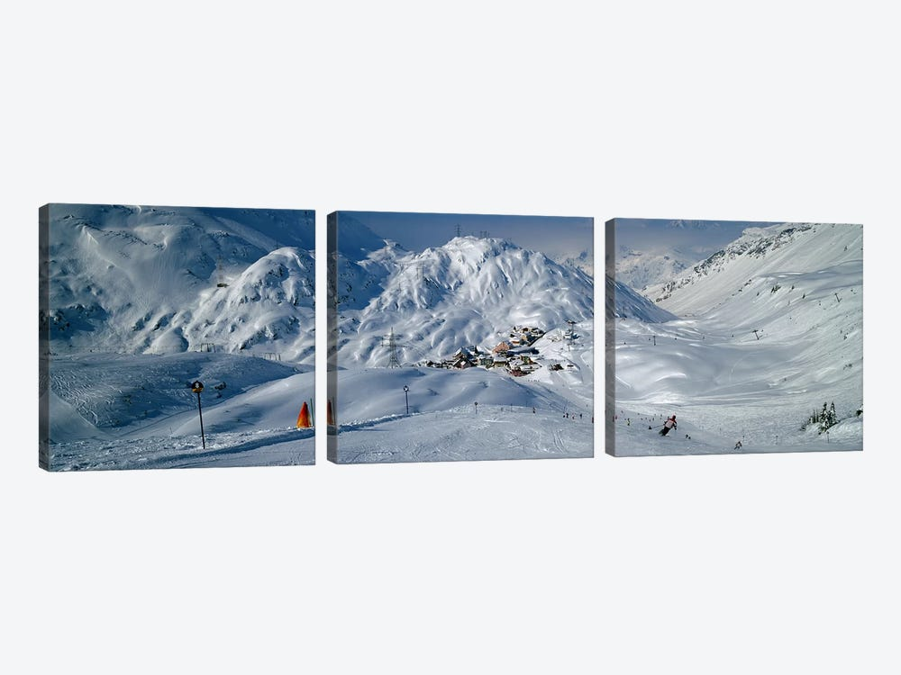 Rear view of a person skiing in snow, St. Christoph, Austria by Panoramic Images 3-piece Canvas Print