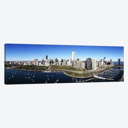 Boats docked at a harbor, Chicago, Illinois, USA Canvas Print #PIM5175} by Panoramic Images Art Print